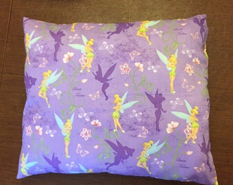Tinker Bell on Large Throw Pillow. Decorative Pillow with Tinker Bell on Purple background.