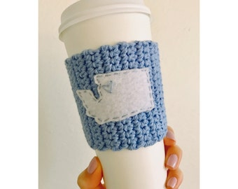 Washington Coffee Cozy // Knitted Coffee Cozy // Blue Coffee Cozy // Seattle Coffee Cozy