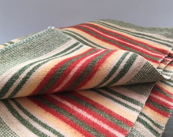 Vintage blanket Striped throw blanket Green red white striped blanket Warm soft throw blanket
