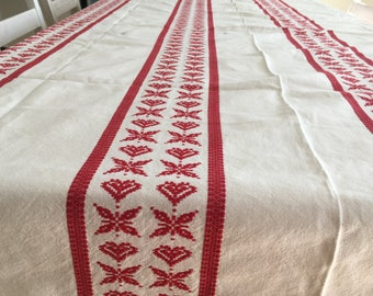 Swedish woven table cloth White table cloth with red ornaments Woven striped table cloth Vintage table linens