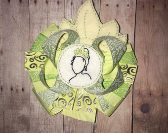 Girls Princess Tiana Princess and the Frog Boutique Hair Bow Clip Birthday Party Hairbow Tiara Crown Toddler Girl Bows Lilypad Lily Pad