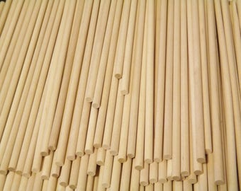 """Ships Free 100 ct 9"""" x 1/4"""" Birch Wooden Dowels for Wood Crafts, Cake Tiers, Lollipops - Bulk/Wholesale FREE SHIPPING!"""