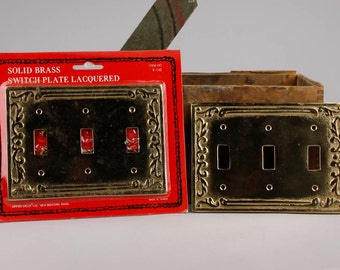 2 Vintage Solid Brass Switch Plates with 3 switch holes.  Item486s