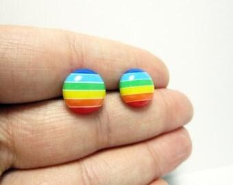 Rainbow Studs, rainbow posts, rainbow earrings, rainbow jewelry, post earrings, 12mm post earrings, fun post earrings, E10243
