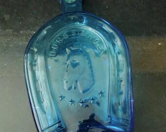 Blue Bottle Horseshoe - Good Luck Gift Charm - Embossed Horse Head - Decorative Window Glass Vintage Cobalt Blue Glass