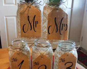 SET of Burlap Table Numbers, Rustic wedding decorations, Wedding Table Numbers