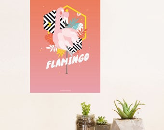 Clearance. Graphic poster. Drawing of a Flamingo Pink. Graphic poster and trendy. Ideal for exotic tropical decoration.