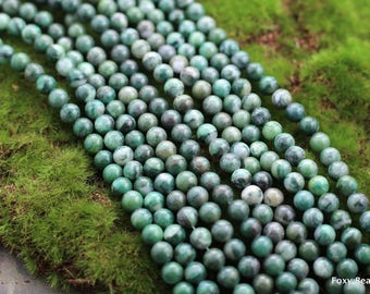 """Natural African Jade Beads, 8mm, Full Strand, Round Beads, AA Quality, Jade Beads, Gemstone Beads, Natural Stone, 16"""", Jewelry Supply 49 pcs"""