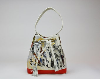 The Elephant and the Dragon Bag Luxury Leather Printed Bucket Bag by SHANDANA