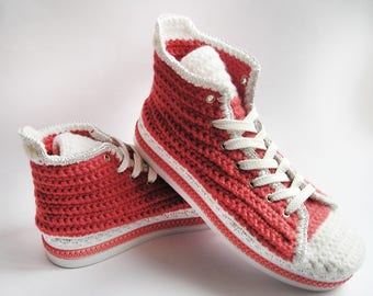 SLIPPERS CONVERSE Adult, Women Converse Cotton/Wool Crochet Boots with Metal Eyelets for Shoes,  Stylish  Easy TR-Rubber Outsole