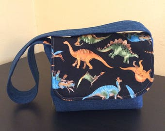 Kids messenger bag,kids dinosaur bag,denim bag