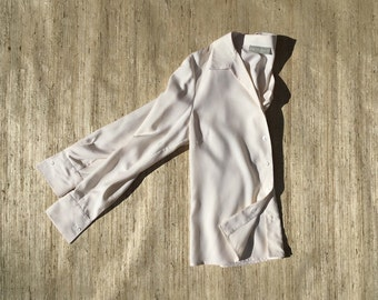 Cream Silk Blouse | 90s vintage | long sleeve | mother of pearl | button up | minimalist | size small | size medium