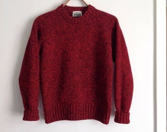 Red & Black Woolrich Sweater, Ragg Wool, Crew Neck, Pull Over,  Jumper, Women's size Small