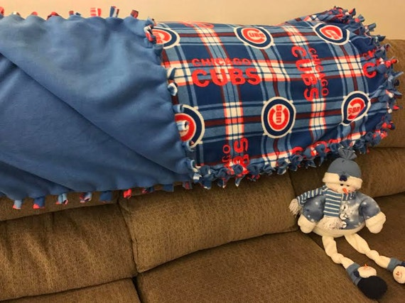 Chicago Cubs Fleece Throw Blanket | Chicago Cubs Blanket | Cubs Plaid Blanket | MLB no sew fleece | Fleece material