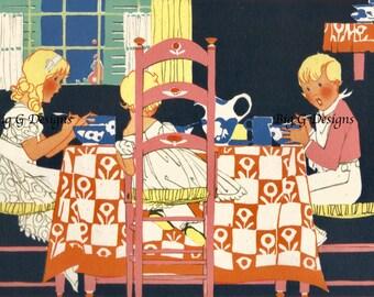 Vintage retro Art Deco children's book illustration art Janet Laura Scott children at supper table digital download printable instant image