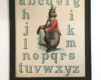 Antique Lithograph Alphabet Nursery Walrus Circus ABC's McLoughlin Bros