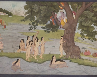 Krishna Steals the Clothes of the Gopis - Indian Miniature Painting printed reproduction, 1960