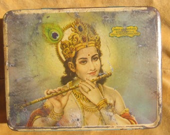 Antique Indian Snuff Tin ... Lord Krishna plays his flute.