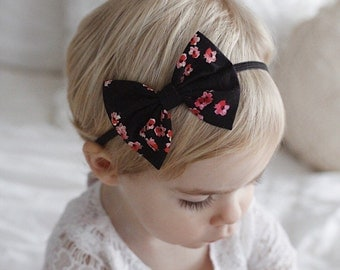 Midnight Blooms Baby Bow