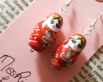 Red russian doll earrings