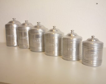 Beautiful French set of 6 aluminium Canisters 1940 Vintage Kitchen - Sugar, flour, coffee, pasta, tea or pepper