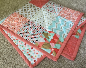 READY TO SHIP Baby Quilt Crib Blanket (Nursery Bedding) (Coral Peach Salmon Metallic Gold Mint Aqua) (Dot Tribal Modern Cross Plus Feather)