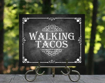 Printable Taco Bar Sign Fiesta Taco Buffet Sign Build your
