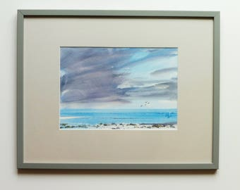 BEACH RHOSCOLYN, ANGLESEY, September 2104. Original Watercolour Landscape Painting. Framed.