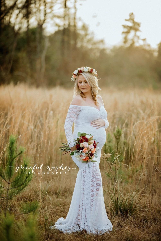 white lace maternity wedding dress off shoulders long sleeves. Black Bedroom Furniture Sets. Home Design Ideas