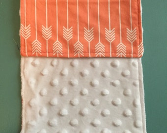 Minky Burp Rags - Coral Arrows