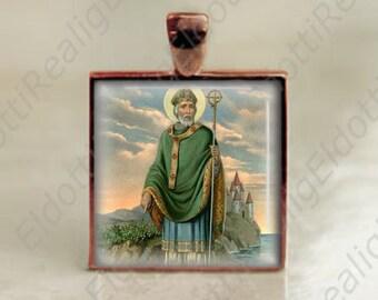St patrick pendant etsy catholic medal st patrick patron saint of ireland christian pendant for necklace copper medallion 25mm aloadofball Images
