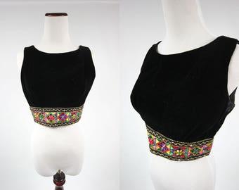 60's/ 70's Black Velvet Embroidered Floral Crop Top Tank