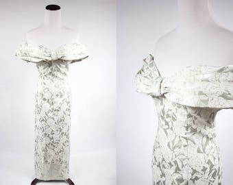 Pale Sage 1950's Rose Sparkle Gown
