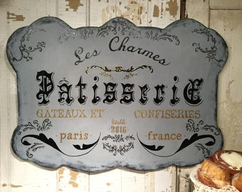 French Pastry Shop patisserie sign Large France  french velvet horses FrenchVelvetHorses wood signs cottage shabby chic sign bakery chef
