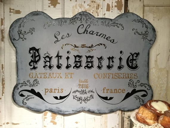 French Pastry Shop Patisserie Sign Large France French Velvet