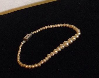 Vintage Faux Pearl Bracelet Small