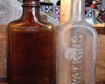 Vintage Watkins Bottles and Brown Glass Bottle