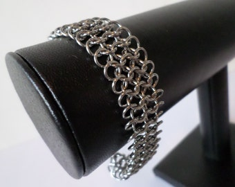 Stainless Steel European Weave Chainmail Bracelet - Gothic Chainmaille Mithril Jewelry