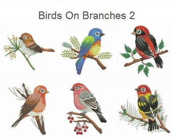 Birds On Branches 2 Embroidery Designs Instant Download 4x4 5x5 hoop 11 designs APE2460
