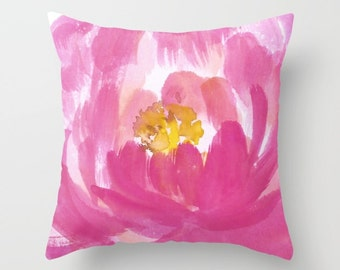 Pink Flower Throw Pillow  Cover - Pink Cushion Cover - Watercolor flower pillow cover - Modern Home Decor - includes insert