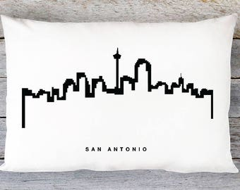 San Antonio Skyline Pillow Cover - San Antonio Cityscape Throw Pillow Cover - Modern Black and White Lumbar Pillow - By Aldari Home