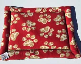 Red Paw Print Dog Bed, Dog Kennel Cover, Paw Print Fleece, Crate Pad, Cat Bed Mat, Small Crate Pad, Directors Chair Pad, Made in Colorado