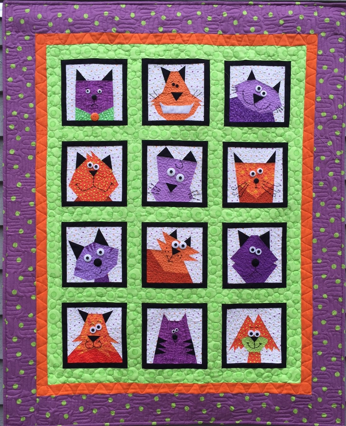 Crazy Cats Paper Pieced Quilt Pattern In Pdf
