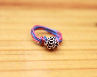 Sterling Accented Telephone Wire-Wrapped Ring