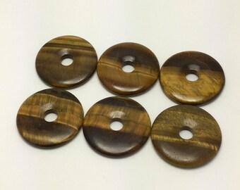 50mm Tiger Eye donut pendant, semiprecious gemstone pendant, metaphysical stone, DIY jewelry,  wire wrapping pendant, GIFT!