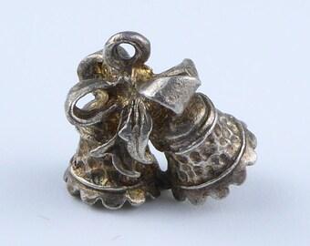 Silver bracelet charm - pair of bells