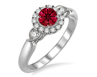 Bestselling 1.25 Carat Antique Round cut Ruby and Diamond Engagement Ring in 14k White Gold affordable ruby & diamond engagement ring