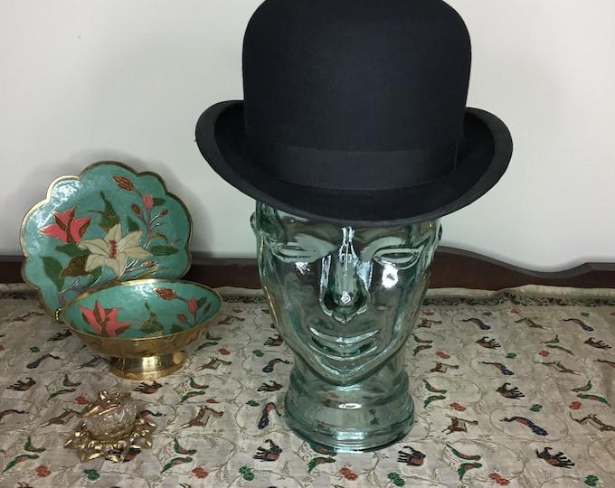 Vintage Estate GA Dunn Co LTD Black Bowler Derby London Edwardian Hat