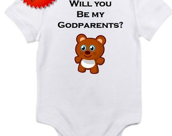 ON SALE Will you be my Godparents onesie you pick size newborn / 0-3 / 3-6 / 6-12 / 18 / month