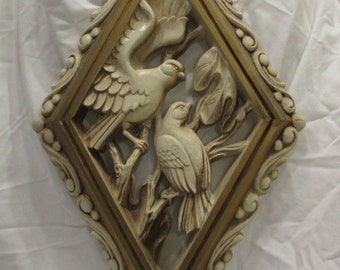 Wall Plaque, Wall Decor, Doves, Plastic, Hollywood Regency, Burwood Products Company, USA #521-3, 1973